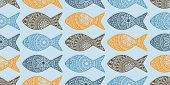 stock photo of fish  - Vector Seamless Pattern with Doodle Fishes fully editable eps 10 file with clipping masks and seamless pattern in swatch menu fishes can be used separatele - JPG