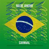 pic of brazilian carnival  - a green background with ornaments text and the brazilian flag - JPG