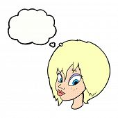 stock photo of pouting  - cartoon pretty female face pouting with thought bubble - JPG