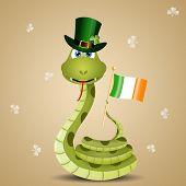 stock photo of green snake  - an illustration of Funny snake for St - JPG