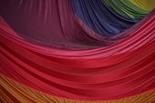 image of parachute  - Segment of Folded Parachute Fabric in Colorful Layers - JPG