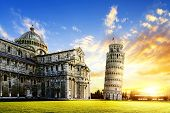 picture of piazza  - place of Miracoli complex with the leaning tower of Pisa in front Italy - JPG