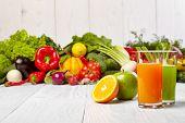 stock photo of juices  - Various Freshly Vegetable Juices for Detox  - JPG