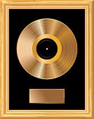 pic of lp  - blank golden LP in golden frame  - JPG