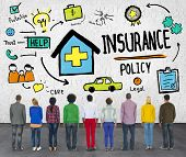 stock photo of insurance-policy  - Diversity Casual People Insurance Policy Benefits Help Concept - JPG