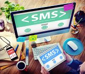 picture of sms  - SMS Messaging Text Internet Communication Networking Concept - JPG