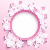 picture of sakura  - Beautiful trendy round frame with 3d white - JPG