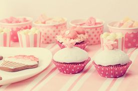 stock photo of sugarpaste  - dessert table in pink at girls birthday party - JPG