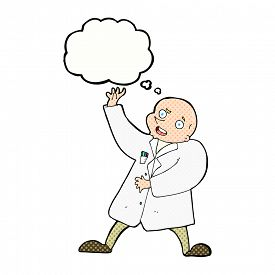 picture of mad scientist  - cartoon mad scientist with thought bubble - JPG