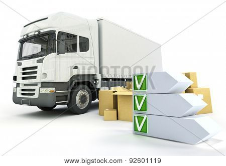 3D rendering of an truck transportation theme with a checklist