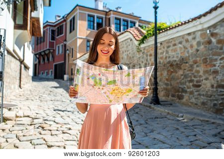 Woman traveling in Plovdiv old city center