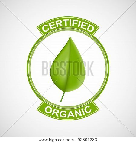Label Or Logo With A Green Leaf For Natural Products.