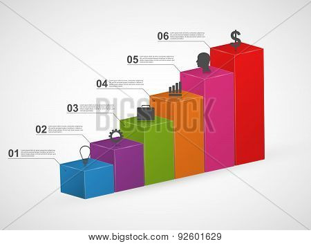 Bar Charts. 3D Colorful Infographics Design Template.