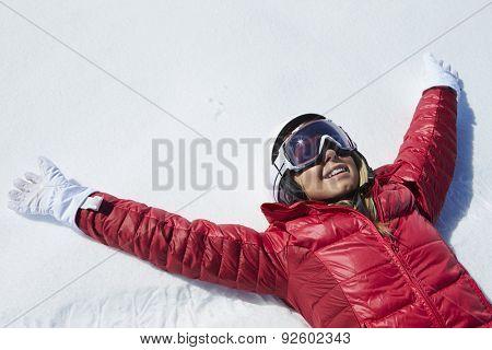 Overhead Shot Of Girl Having Fun On Winter Holiday