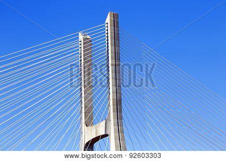 Detail from the Vasco da Gama Bridge in Lisbon Portugal
