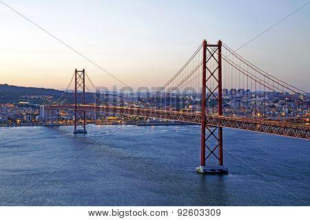 25 Abril bridge in Lisbon Portugal by twilight