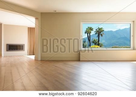 Architecture, empty living room with large windows