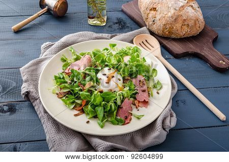 Lamb's Lettuce Salad With Poached Egg And Nuts