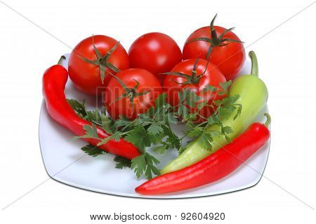 Tomatoes, Parsley And Peppers