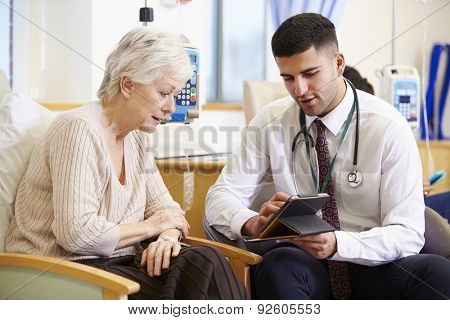 Woman Having Chemotherapy With Doctor Using Digital Tablet