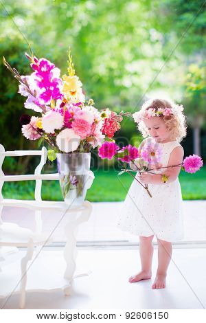 Little Girl Making Flower Arrangement