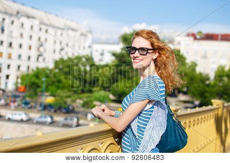 Readhead Woman In Glasses Outdoor