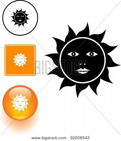 sun with face symbol sign and button