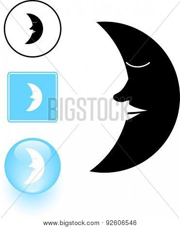 sleeping moon symbol sign and button