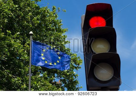 Red Light And European Union Flag
