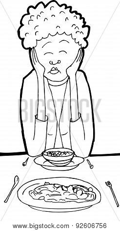 Woman Asleep At Table