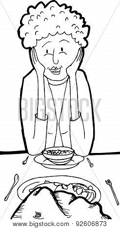 Outline Of Smiling Woman At Dinner With Rock