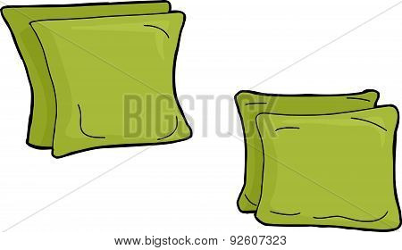 Set Of Green Pillow Cushions