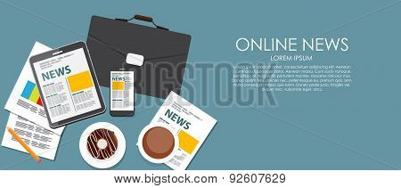 Online News Vector illustration. Flat computing background.