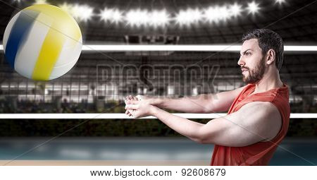 Volleyball player on red uniform in volleyball court