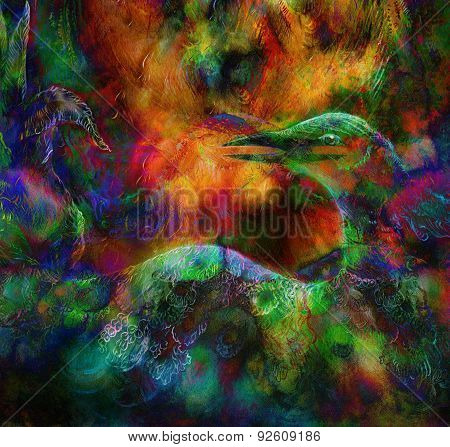 Fairy Emerald Green Phoenix Bird, Colorful Ornamental Fantasy Painting