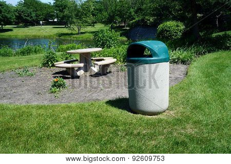 Garbage Can and Picnic Table