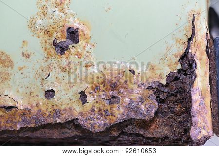 Rusty On Old Metal And Peeling Off Paint Texture Background