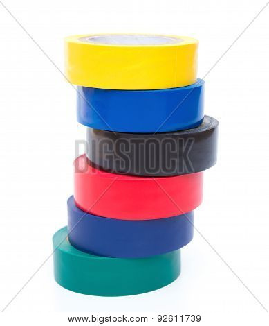 Stack Of Different Color Electrical Tapes On White Background