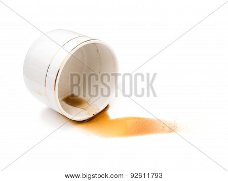 Spilled Coffee On A White Background