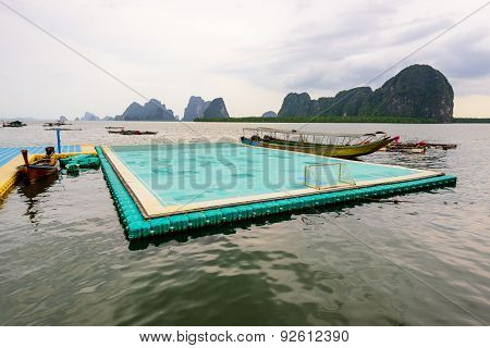 Football Field Floating On The Sea