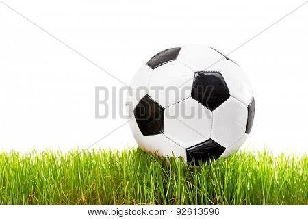 White and black football on a grass surface isolated on white background
