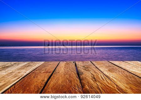 Wooden With  Sunset Evening  In Sea