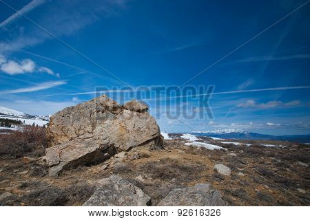 Mountaintop Boulder In Sierra Nevada