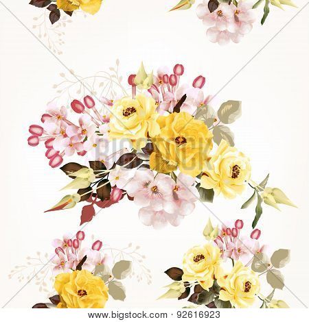 Vector Seamless Pattern For Design With Flowers