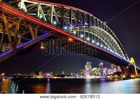 SYDNEY AUSTRALIA - JUNE 5 2015; Sydney Harbour Bridge and Opera House illuminated colourful light