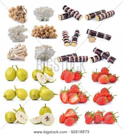 Strawberry , Sugar Cane, Brown Beech Mushroom ,pear On White Background