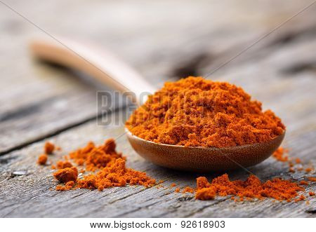 Yellow Turmeric In Wooden Spoon