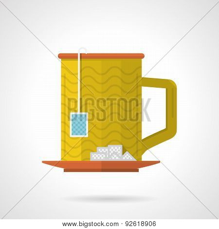 Yellow tea cup flat color vector icon