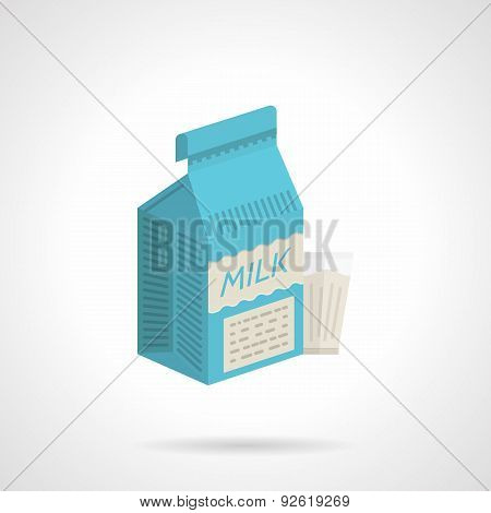 Milk blue pack flat color vector icon