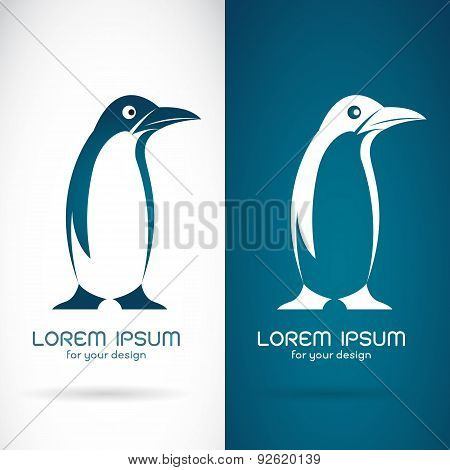 Vector Image Of An Penguin Design On White Background And Blue Background, Logo, Symbol